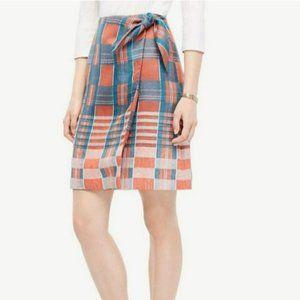Ann Taylor Hot Ember Linen Faux Wrap Skirt Size 2